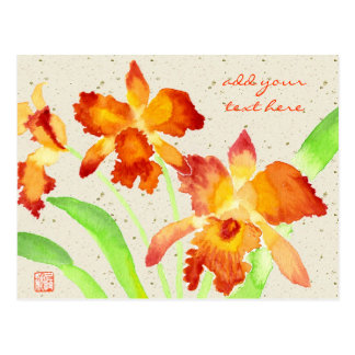 Orange Cattleya Orchids Watercolor Painting Postcard