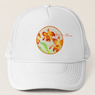 Orange Cattleya Orchids Watercolor Painting Trucker Hat