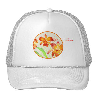 Orange Cattleya Orchids Watercolor Painting Trucker Hat