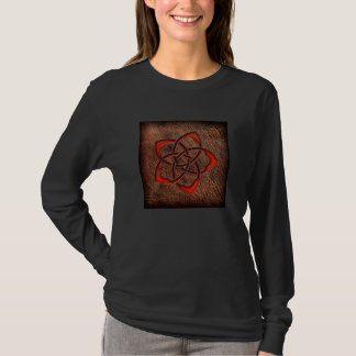 Orange celtic flower on leather T-Shirt