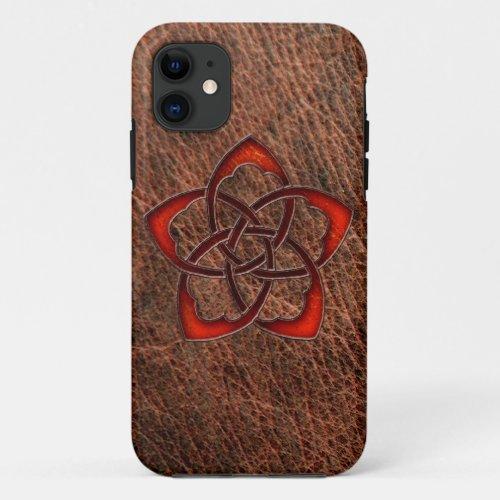 Orange celtic knot flower on genuine leather