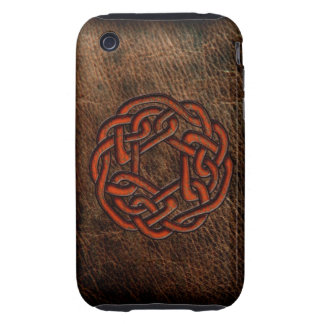 Orange celtic knot on leather iPhone 3 tough covers