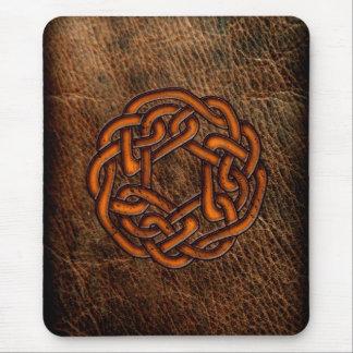 Orange celtic knot on leather mouse pad