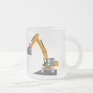 orange chain excavator frosted glass coffee mug
