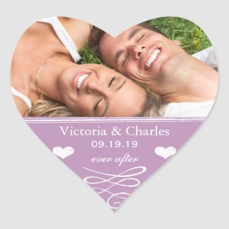 Orange Chalkboard Wedding Save the Date Seal Heart Stickers
