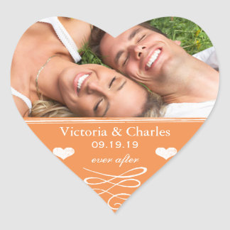 Orange Chalkboard Wedding Save the Date Seal Stickers