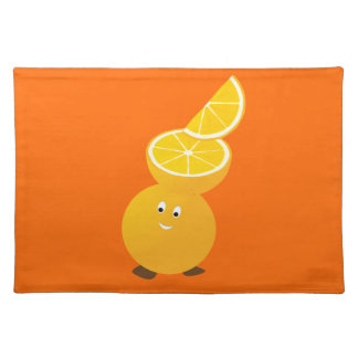 Orange character wearing orange slices placemats