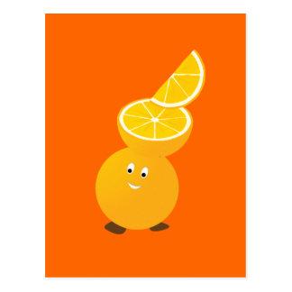 Orange character wearing orange slices postcard