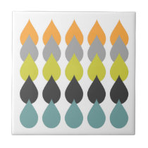 Orange Chartreuse Yellow Aqua Patterned Tile