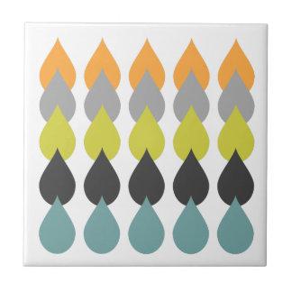 Orange Chartreuse Yellow Aqua Patterned Tile