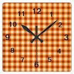 Orange check tartan velvet clock