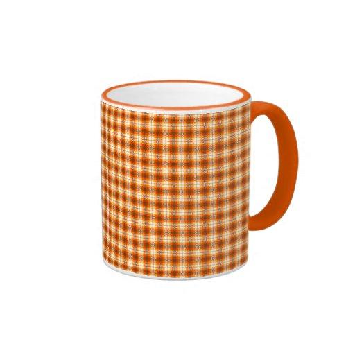Orange check tartan velvet coffee mugs