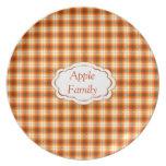 Orange check tartan velvet dinner plates