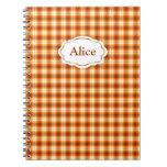 Orange check tartan velvet notebooks
