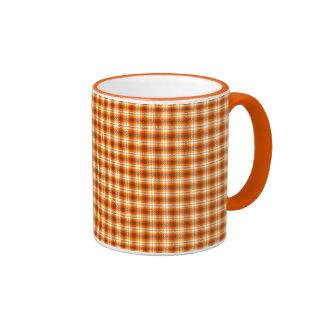 Orange check tartan velvet ringer mug