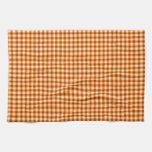 Orange check tartan velvet towel