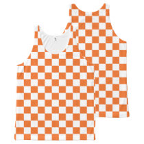Orange Checkerboard All-Over-Print Tank Top