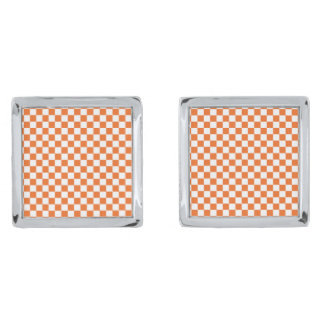 Orange Checkerboard Cufflinks