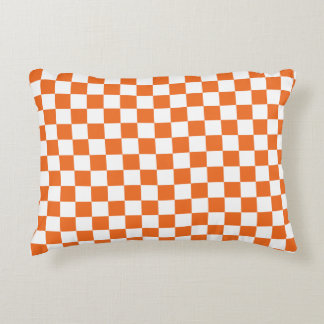 Orange Checkerboard Decorative Pillow