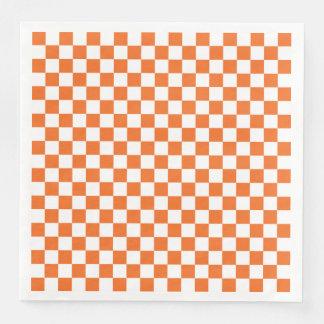 Orange Checkerboard Paper Dinner Napkin