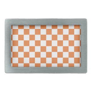 Orange Checkered Pattern Rectangular Belt Buckles