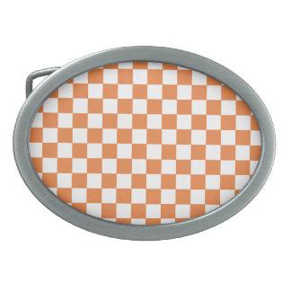 Orange Checkers Belt Buckle