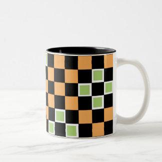 Orange Checkers Two-Tone Coffee Mug