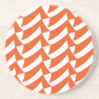 Orange Checks Sandstone Coaster