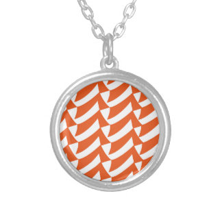 Orange Checks Silver Plated Necklace