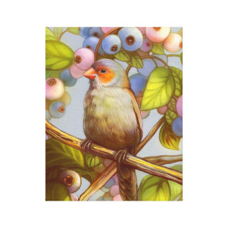 Orange cheeked waxbill finch with blueberries canvas print