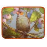 Orange cheeked waxbill finch with blueberries MacBook pro sleeves