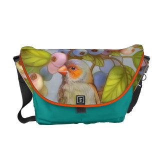 Orange cheeked waxbill finch with blueberries messenger bag