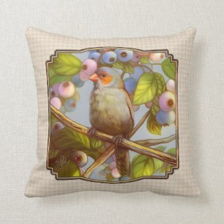 Orange cheeked waxbill finch with blueberries pillows