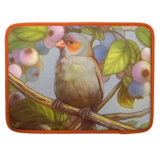 Orange cheeked waxbill finch with blueberries sleeve for MacBook pro