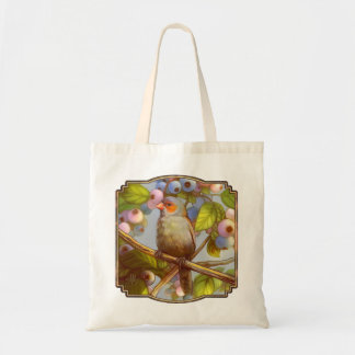 Orange cheeked waxbill finch with blueberries tote bag