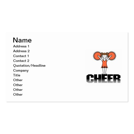Orange Cheerleading T-shirts and Gifts Double-Sided Standard Business Cards (Pack Of 100)