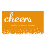 Orange cheers bubble wedding custom drink ticket business cards