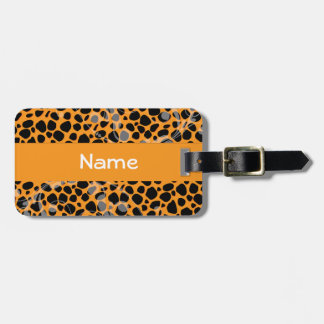 Orange Cheetah Skin Pattern Tags For Luggage