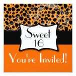 Orange Cheetah Sweet 16 Birthday Personalized Announcements