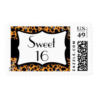 Orange Cheetah Sweet 16 Birthday Postage