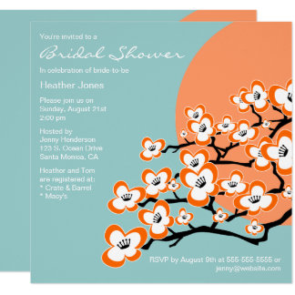 Orange Cherry Blossom Bridal Shower Invitation