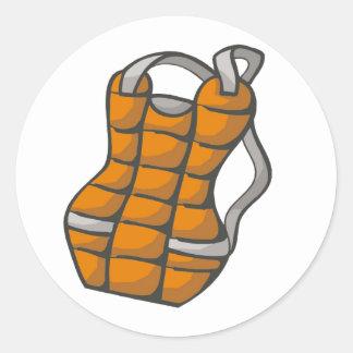 Orange Chest Protector Classic Round Sticker