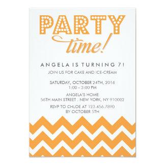 Orange Chevron and Polka Dots Birthday Party Card
