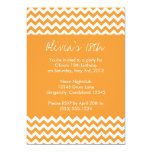 "Orange Chevron Birthday Invitation 5"" X 7"" Invitation Card"