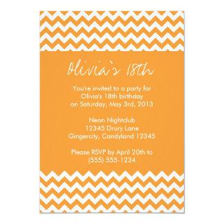Orange Chevron Birthday Invitation