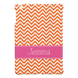 Orange Chevron Chic Pink Personalized iPad Mini Covers