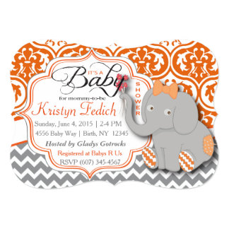 Orange & Chevron Elephant Baby Shower Invite