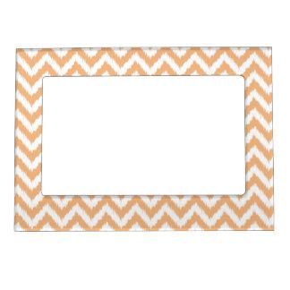 Orange Chevron Ikat Pattern Magnetic Frame