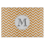 Orange Chevron Monogram Cutting Board