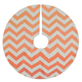 Orange Chevron Pattern Brushed Polyester Tree Skirt